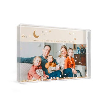 Personalised snow globe - Rectangle - Hearts