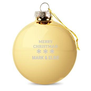 Lasinen joulupallo nimellä - kulta (2 kpl)