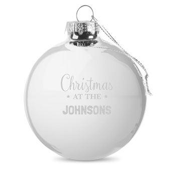 Lasinen joulupallo nimellä - hopea (2 kpl)