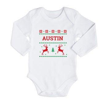 O primeiro macacão de Natal do bebê