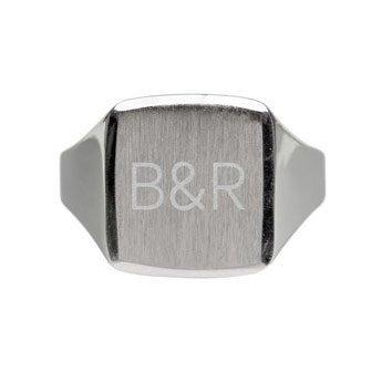 Anello argento con sigillo e incis. Uomo - 19,5