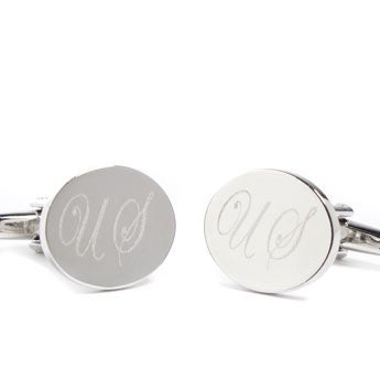 Cufflinks engraved with initials