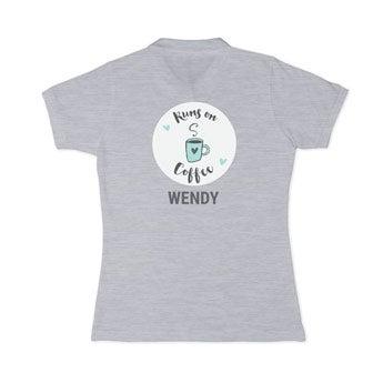 Koszulka polo - damska - szara