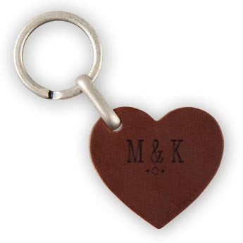 Nyckelring - Läder - Hjärta - Brun