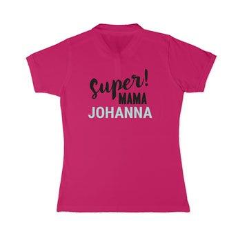 Koszulka polo - damska - różowa