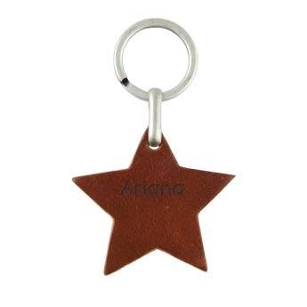 Llavero de cuero - Estrella - Marrón
