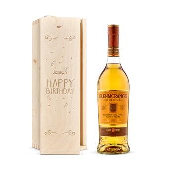 Glenmorangie whisky in engraved case