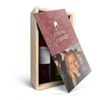Conjunto de vinho em caixa de madeira personalizada - Luc Pirlet