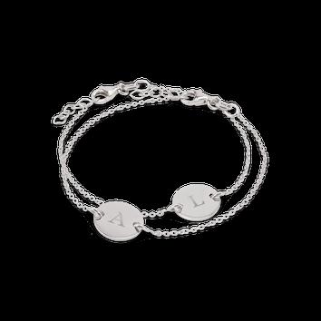 Set pulseiras de prata gravada - Mãe e filha