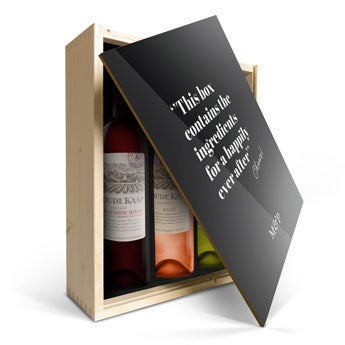 vinos Oude Kaap en caja impresa