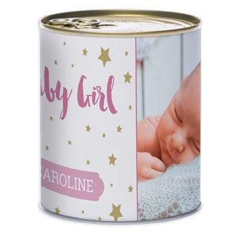 Plechová nádoba - narodenie dievčatka