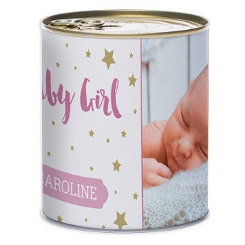 Plechová nádoba - narození děvčátka