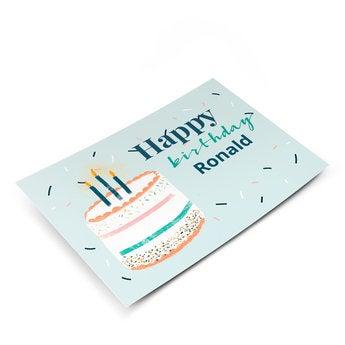 Cartão postal com foto - aniversário