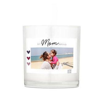 Vela do dia das mães em vidro - 10 x 10 x 10 cm
