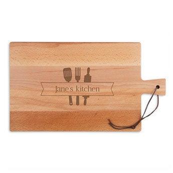 Fából készült tál - Bükkfa - Négyszögletes - Tájkép (L)