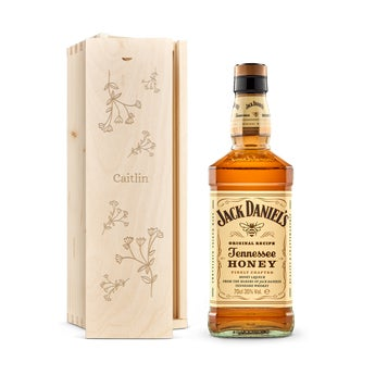 Jack Daniels Honey Bourbon whisky in engraved case