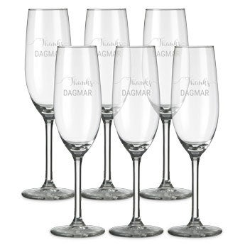 Sektglas mit Gravur (6 Stück)