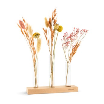 Tørkede blomster - 3 vaser - Personlig stativ i tre