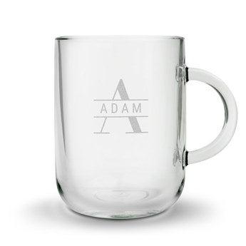 Theglas med gravyr - rund