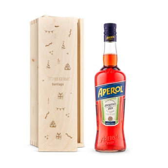 Brandy Aperol + Caja de madera grabada