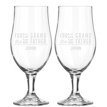 Set of 2 beer glasses on feet - Grandpa