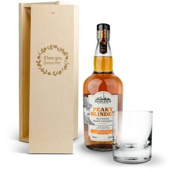 Peaky Blinders whisky set (Engraved wooden case)