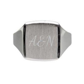 Zilveren zegelring graveren - Heren - 20,5