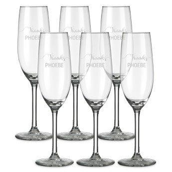 Champagneglas med gravering (sæt af 6)