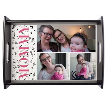 Mother's Day serving tray - Black - Large