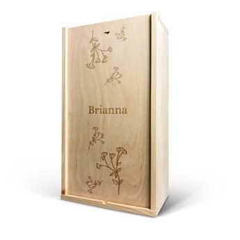 Cassetta in legno - Coperchio inciso - Doppia