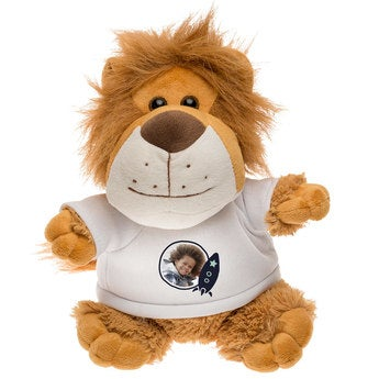 Personalised cuddly toy with photo - Lion