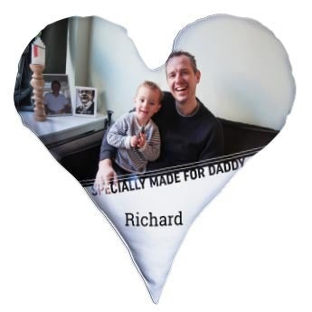 Almofada do Dia dos Pais totalmente estampada - Em forma de coração - Veludo (60 x 60)
