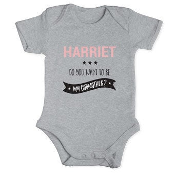 Will you be my godmother romper - Grey 50/56