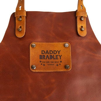 Father's Day leather apron with name - Brown
