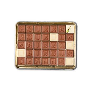 Chocotélégram® boîte en étain - 35 lettres