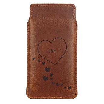 Leather phone case - L - Brown