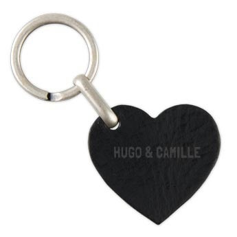 Porte-clé prénom en cuir - Coeur - Noir