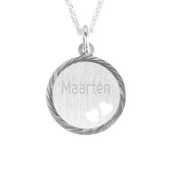 Zilveren hanger met tekst