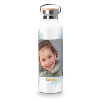 Bamboo water bottle - White