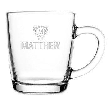 Te glas med gravering