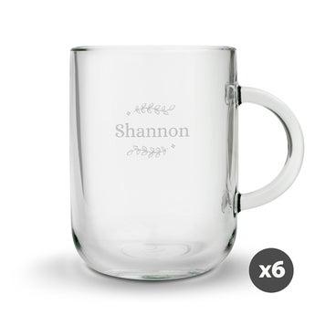 Theglas med gravyr - rund - 6 stycken