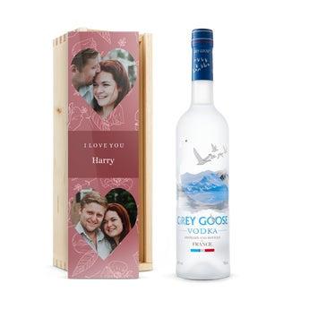 Vodka v gravírování krabici - Grey Goose
