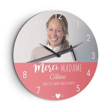 Horloge maîtresse/maître d'école personnalisée