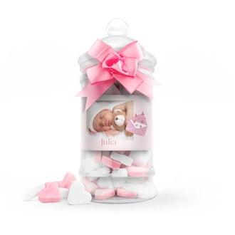 Hjerteformet godteri i tåteflaske (rosa) - sett med 10