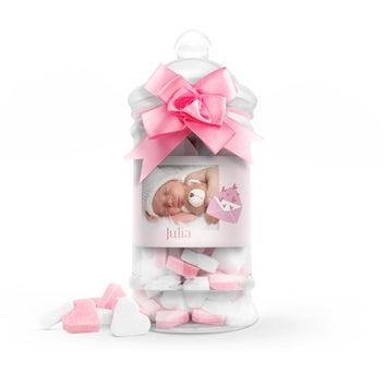 Suikerhartjes in babyfles (roze) - groot
