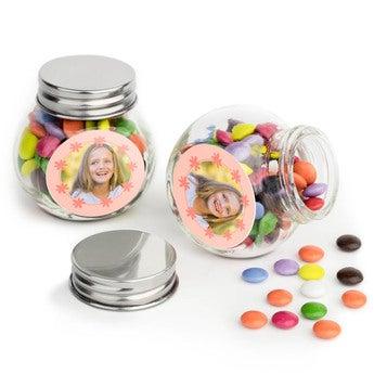 Sjokolader i glasskrukke - sett med 100