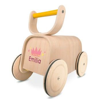 Brinquedo de madeira push-along 3-em-1
