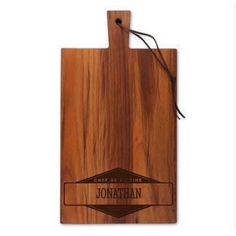 Dřevěný servírovací talíř - týk - obdélník - portrét (M)