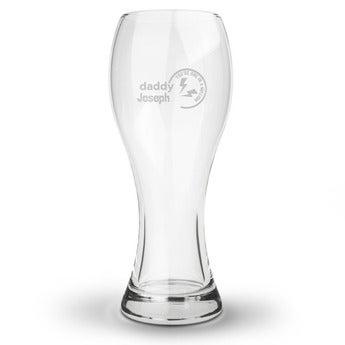 Ölglas med gravyr - Vasformade - Farsdag