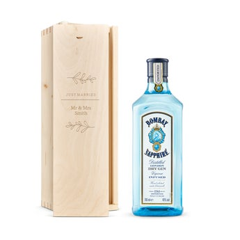 Bombay Sapphire gin in engraved case